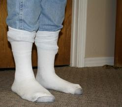 example of how to wear your socks while testing for fleas